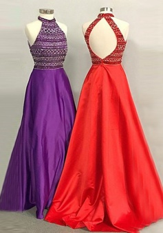 A-Line High Neck Open Back Long Red/Purple Prom Dress with Beading