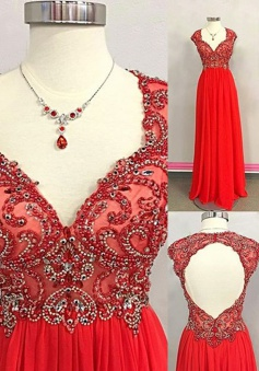 A-Line Scoop Cap Sleeves Open Back Red Prom Dress with Beading