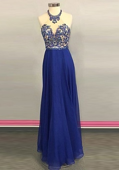 A-Line Jewel Floor-Length Backless Royal Blue Prom Dress with Beading