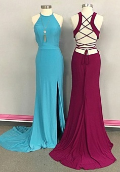 Sheath Jewel Sleeveless Sweep Train Backless Blue/Burgundy  Prom Dress