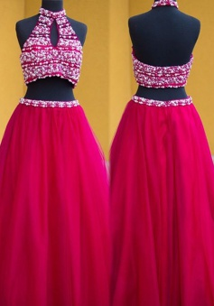 Two Piece Halter Long Rose Pink Keyholes Prom Dress with Beading
