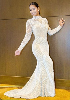 Mermaid High Neck Long Sleeves Open Back Lace Prom Dress with Beading