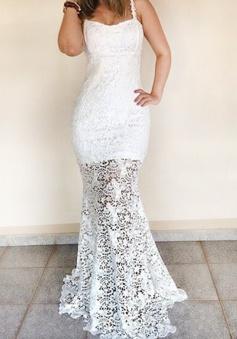 Mermaid Square Sleeveless Floor-Length White Lace Prom Dress