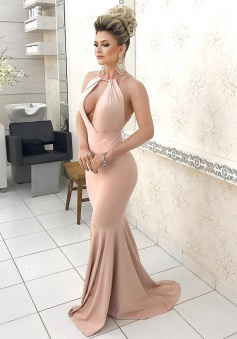 Mermaid Jewel Sweep Train Backless Blush Prom Dress with Keyhole