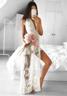 A-Line Halter Backless White Prom Dress with Appliques Split-Side