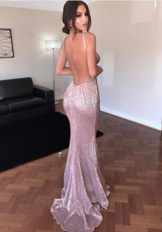 Sheath Spaghetti Straps Sweep Train Backless Lilac Sequined  Prom Dress