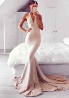 Mermaid V-Neck Criss-Cross Straps Court Train Blush Prom/Evening Dress