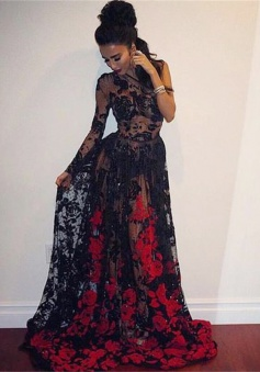 A-Line One-Shoulder Sweep Train Black Lace Prom Dress with Appliques