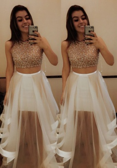 Two Piece Jewel Sleeveless Tiered White Prom Dress with Beading