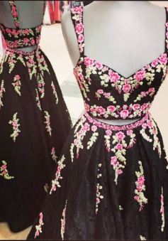 Two Piece Square Floor-Length Black Lace Prom Dress with Appliques