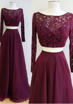 Two Piece  Bateau Long Sleeves Burgundy Prom Dress with Lace Beading