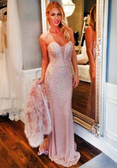 Mermaid Sweetheart Sweep Train Pink Prom Dress with Beading