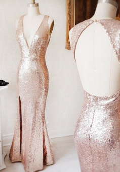 Mermaid Deep V-Neck Open Back Long Rose Gold Sequined Prom Dress
