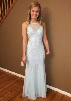 Mermaid Crew Floor-length Open Back White Tulle Prom Dress with Beading
