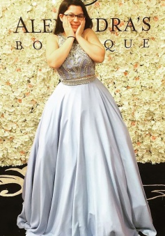 A-Line Crew Sleeveless Sweep Train Grey Stretch Satin Prom Dress with Beading