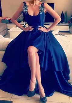 A-Line Straps Asymmetry Backless Royal Blue Satin Prom Dress with Appliques
