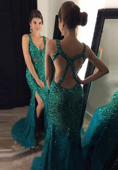 Mermaid Scoop Sweep Train Open back Green Tulle Prom Dress with Beading