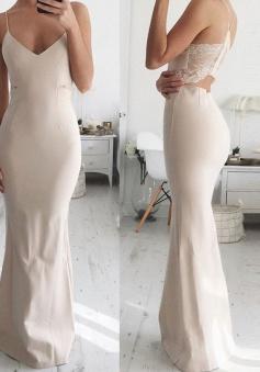 Mermaid Spaghetti Straps Floor-Length Open Back Ivory Stretch Satin Prom Dress