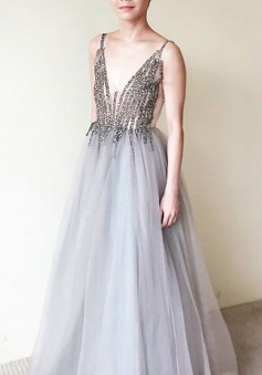 A-Line V-Neck Floor-Length Sleeveless Grey Tulle Prom Dress with Beading