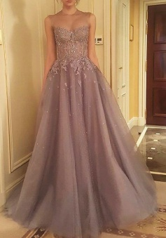 A-Line Jewel Sweep Train Light Grey Organza Prom Dress with Appliques Beading