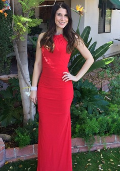 Mermaid Halter Sleeveless Floor-Length Red Chiffon Prom Dress with Ruched