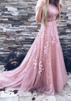A-Line Crew Court Train Backless Pink Tulle Prom Dress with Appliques