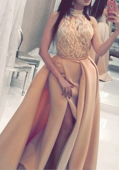 A-Line High Neck Sweep Train Split-Side Champagne Satin Prom Dress with Lace