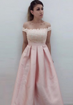 A-Line Off-the-Shoulder Sweep Train Pink Satin Prom Dress with Appliques