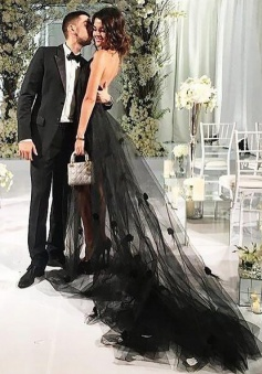 A-Line Halter Chapel Train Backless Black Tulle Prom Dress with Appliques