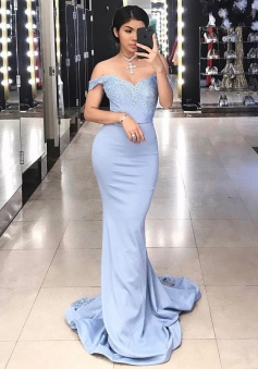 Mermaid Off-the-Shoulder Sweep Train Blue Stretch Satin Prom Dress with Appliques Lace