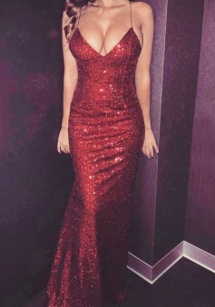 Mermaid Spaghetti Straps Sleeveless Sweep Train Dark Red Sequined Prom Dress