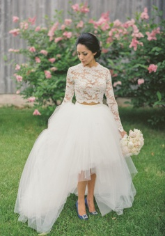 Fancy Two Piece Long Sleeves Hi-Low Organza Wedding Dress Lace Top