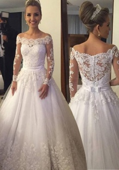 Dramatic Off Shoulder Long Sleeves Floor-Length Wedding Dress with Lace Top Beading