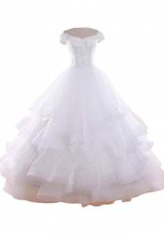 Crispy Off Shoulder Cap Sleeves Tiered Organza Wedding Dress