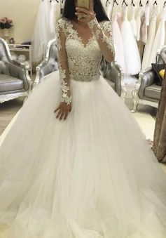 Trendy V-neck Long Sleeves Ball Gown Wedding Dress with Lace Top Beading Waist