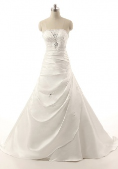 Simple Strapless Sweep Train Tiered Sheath Wedding Dress with Beading Ruched
