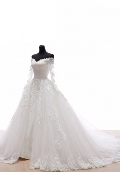 Fabulous Off Shoulder Court Train Long Sleeves Wedding Dress with Lace Appliques