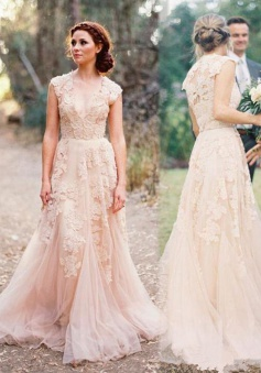 Elegant V-neck Sleeveless Floor-Length Wedding Dress with Lace