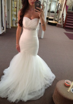 Charming Sweetheart Sweep Train Mermaid Wedding Dress Ruched with Beading