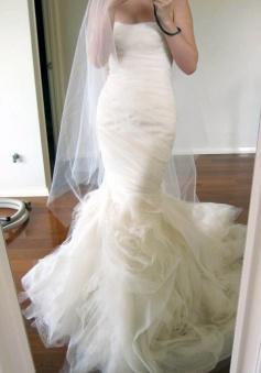 Exculsive Sweetheart Sweep Train Tiered Mermaid Wedding Dress Ruched