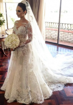 Glamorous Bateau Long Sleeves Court Train Lace Wedding Dress with Pearls