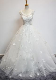 Delicate Scoop Cap Sleeves Floor-Lenth Wedding Dress with Beading Appliques