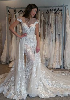 Glamorous Bateau Cap Sleeves Mermaid Lace Wedding Dress with Detachable Train