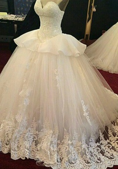 Fabulous Sweetheart Sweep Train Wedding Dress with Lace Beading Ruffles