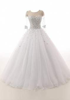 Honorable Jewel 3/4 Sleeves Organza Wedding Dress with Beading