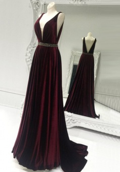 A-Line Deep V-Neck Sweep Train Backless Burgundy Stretch Satin Prom Dress with Beading