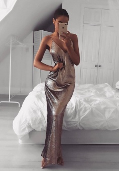 Mermaid Spaghetti Straps Floor-Length Criss-Cross Straps Browm Sequined Prom Dress