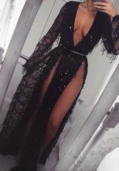 Sheath Deep V-Neck Long Sleeves Split-Side Black Tulle Prom Dress with Appliques Beading
