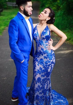 Mermaid Halter Sweep Train Backless Royal Blue Lace Prom Dress with Appliques