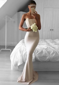 Mermaid Strapless Sweep Train Ivory Stretch Satin Prom Dress with Ruched